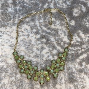 Green, blue and gold bauble necklace